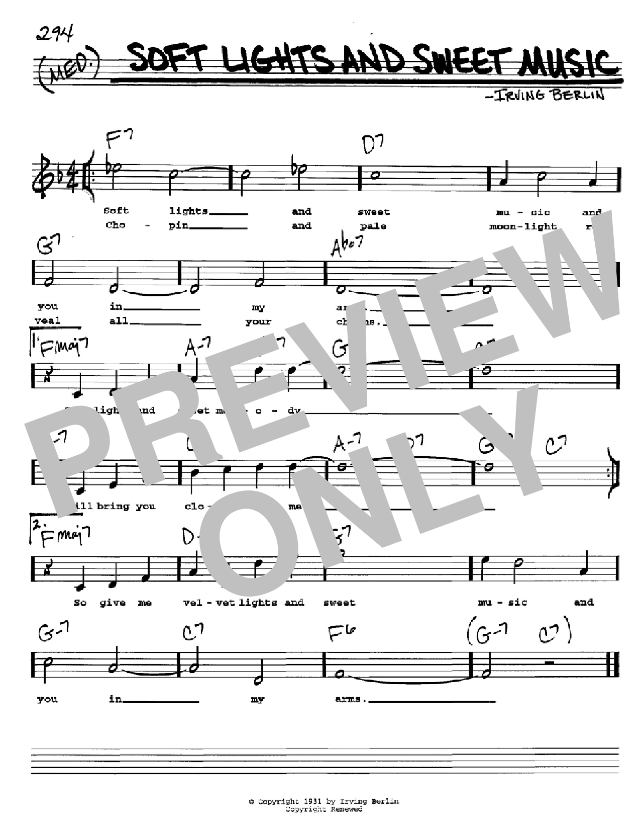 Soft Lights And Sweet Music Sheet Music