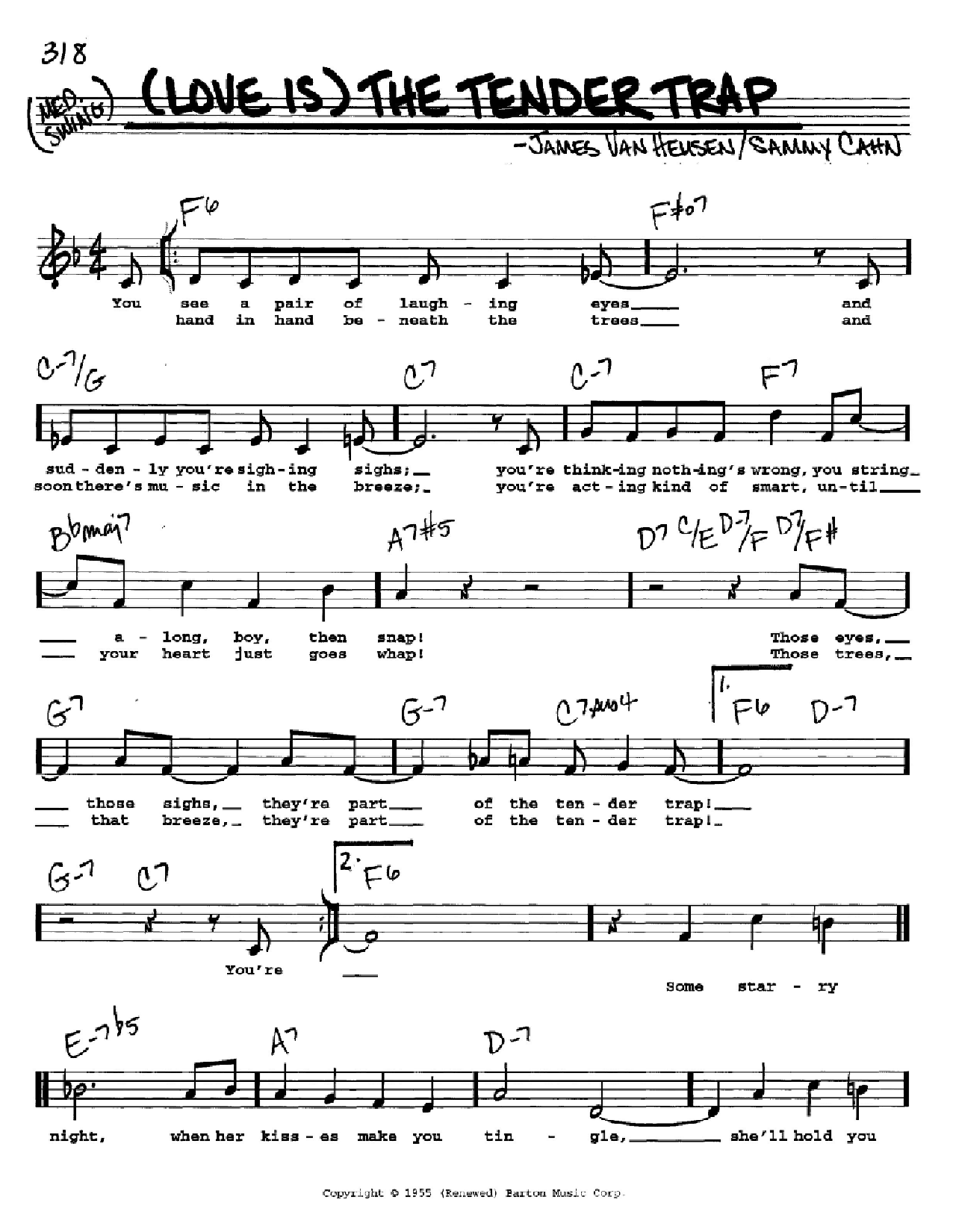 (Love Is) The Tender Trap Sheet Music