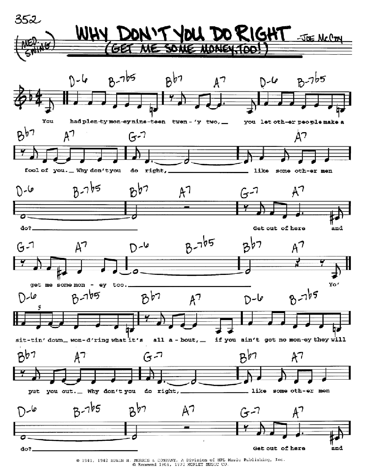 Why Don't You Do Right (Get Me Some Money, Too!) Sheet Music
