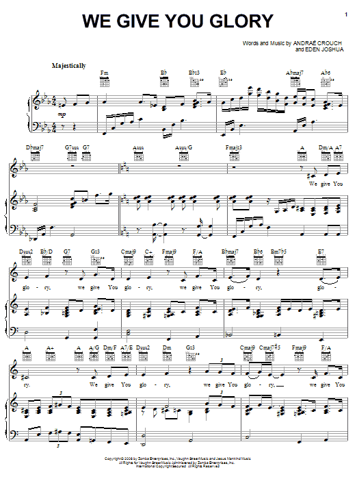 We Give You Glory Sheet Music