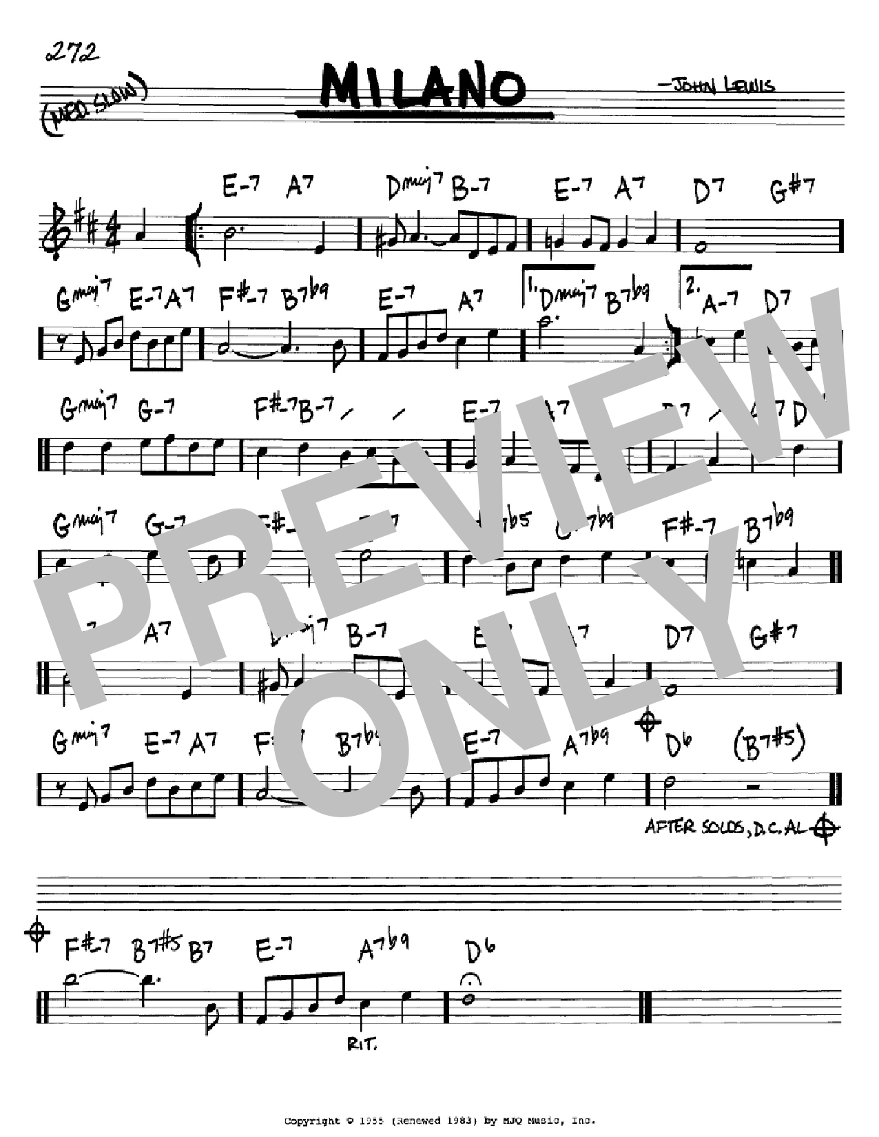 Milano Sheet Music