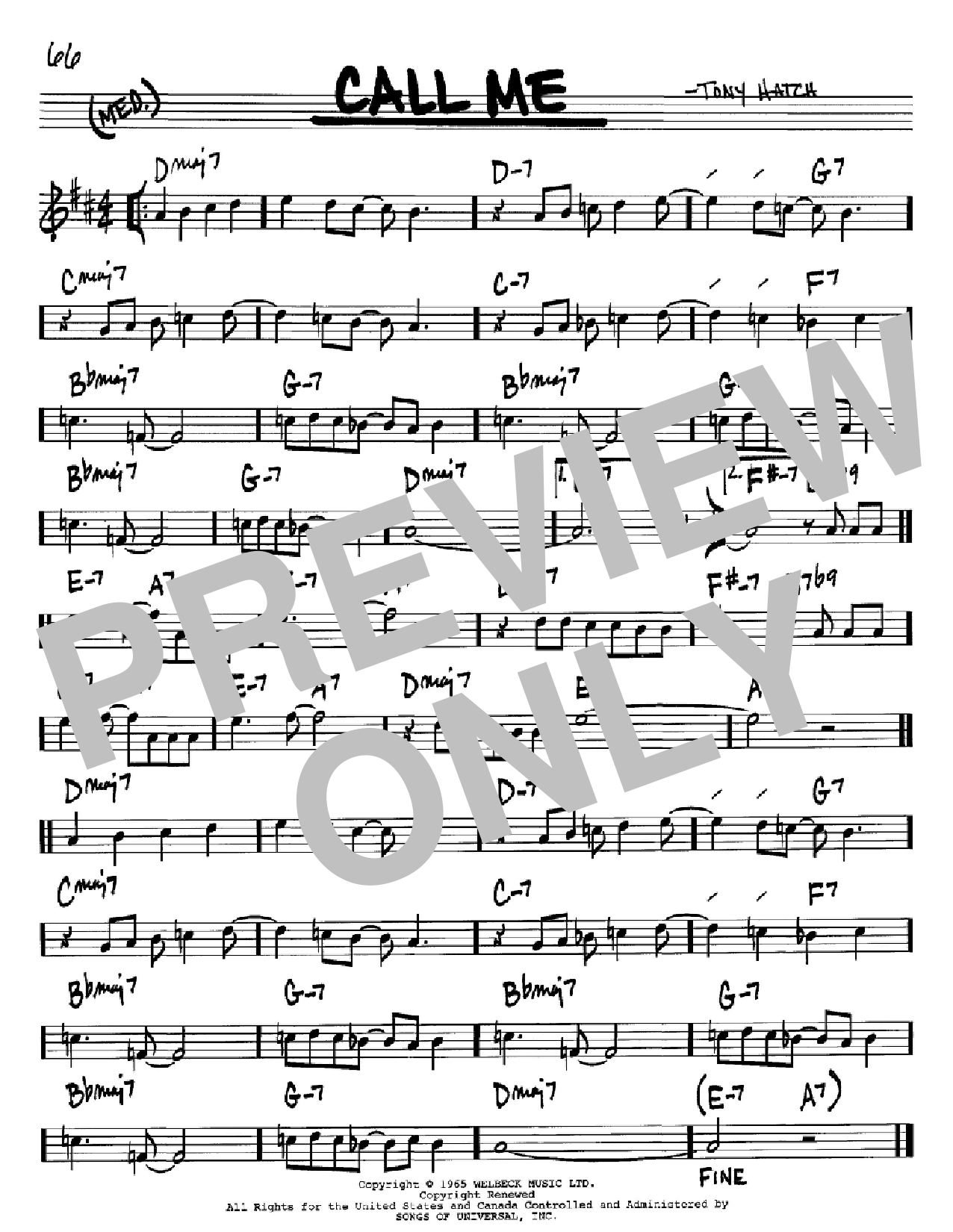 Call Me (Real Book – Melody & Chords – Bb Instruments)