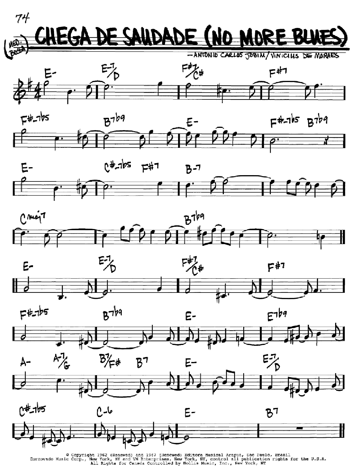 Chega De Saudade (No More Blues) Sheet Music