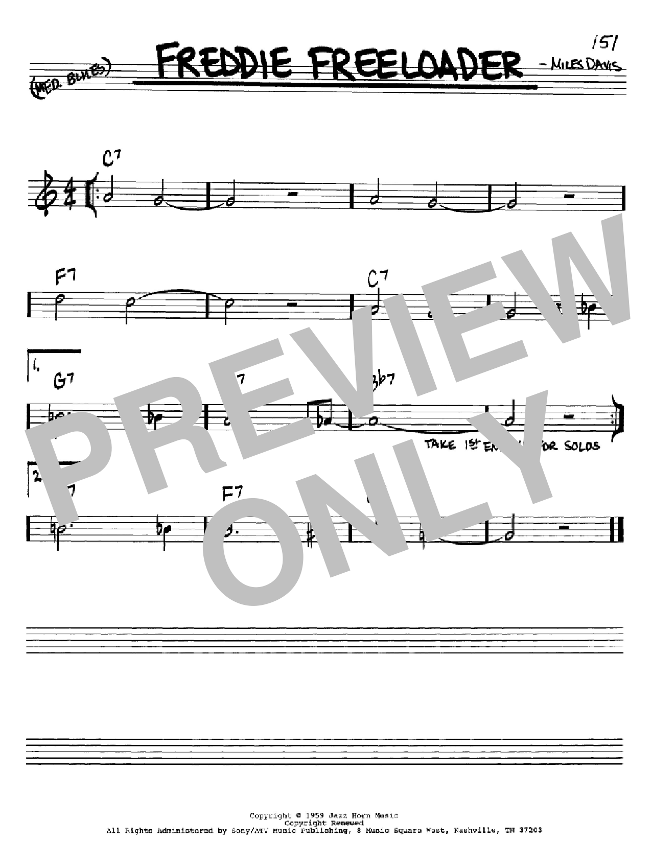 Freddie Freeloader (Real Book – Melody & Chords – Bb Instruments)