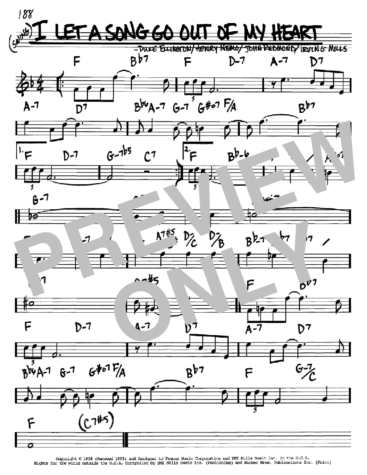 I Let A Song Go Out Of My Heart Sheet Music