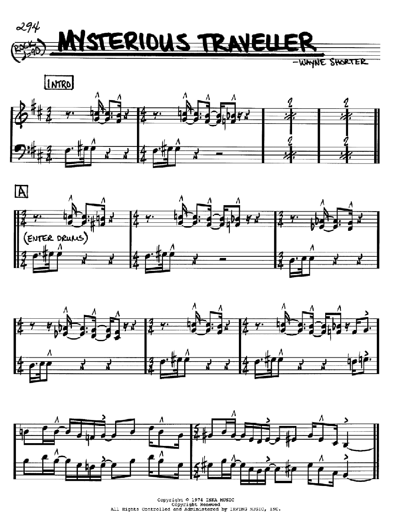 Mysterious Traveller Sheet Music