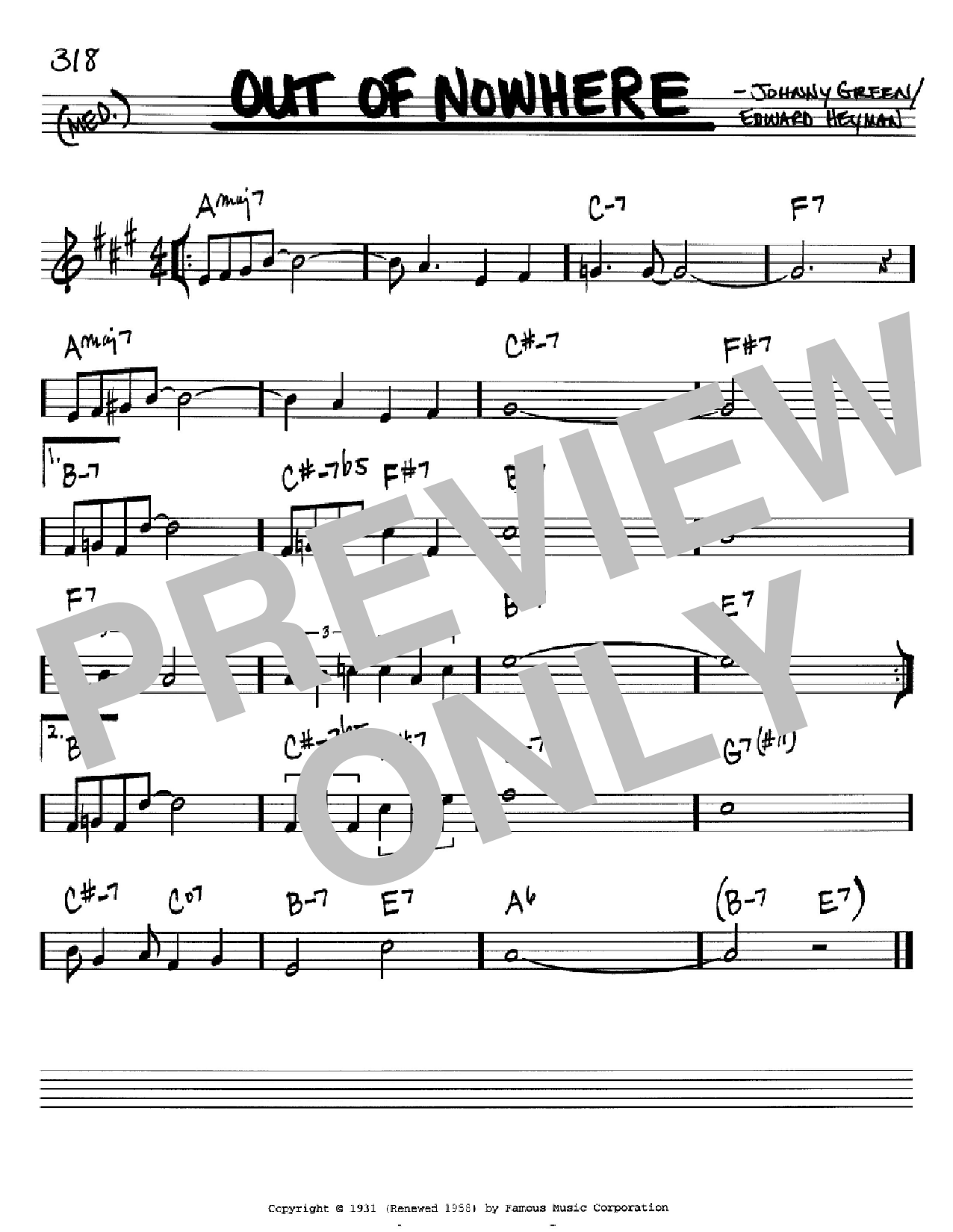 Out of nowhere sheet music by edward heyman real book melody edward heyman out of nowhere real book melody chords bb instruments hexwebz Choice Image