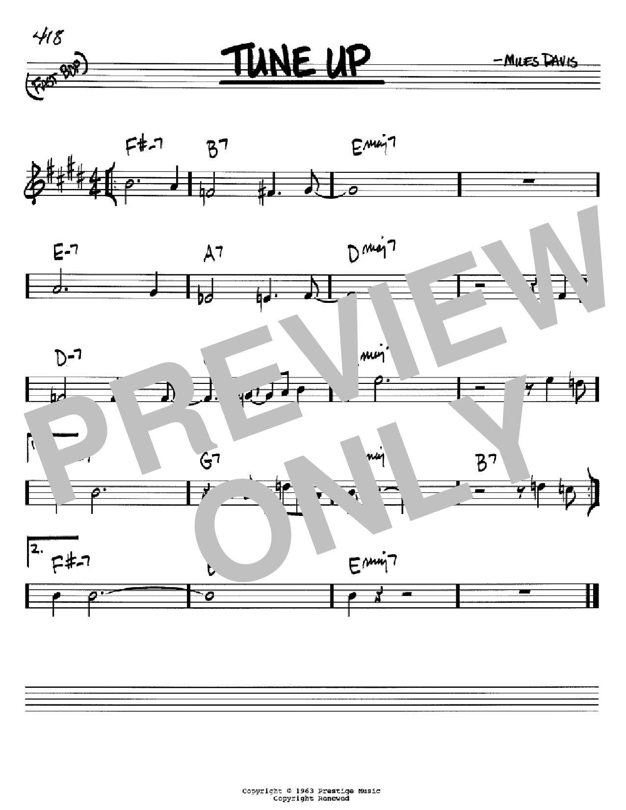 Tune Up (Real Book – Melody & Chords – Bb Instruments)