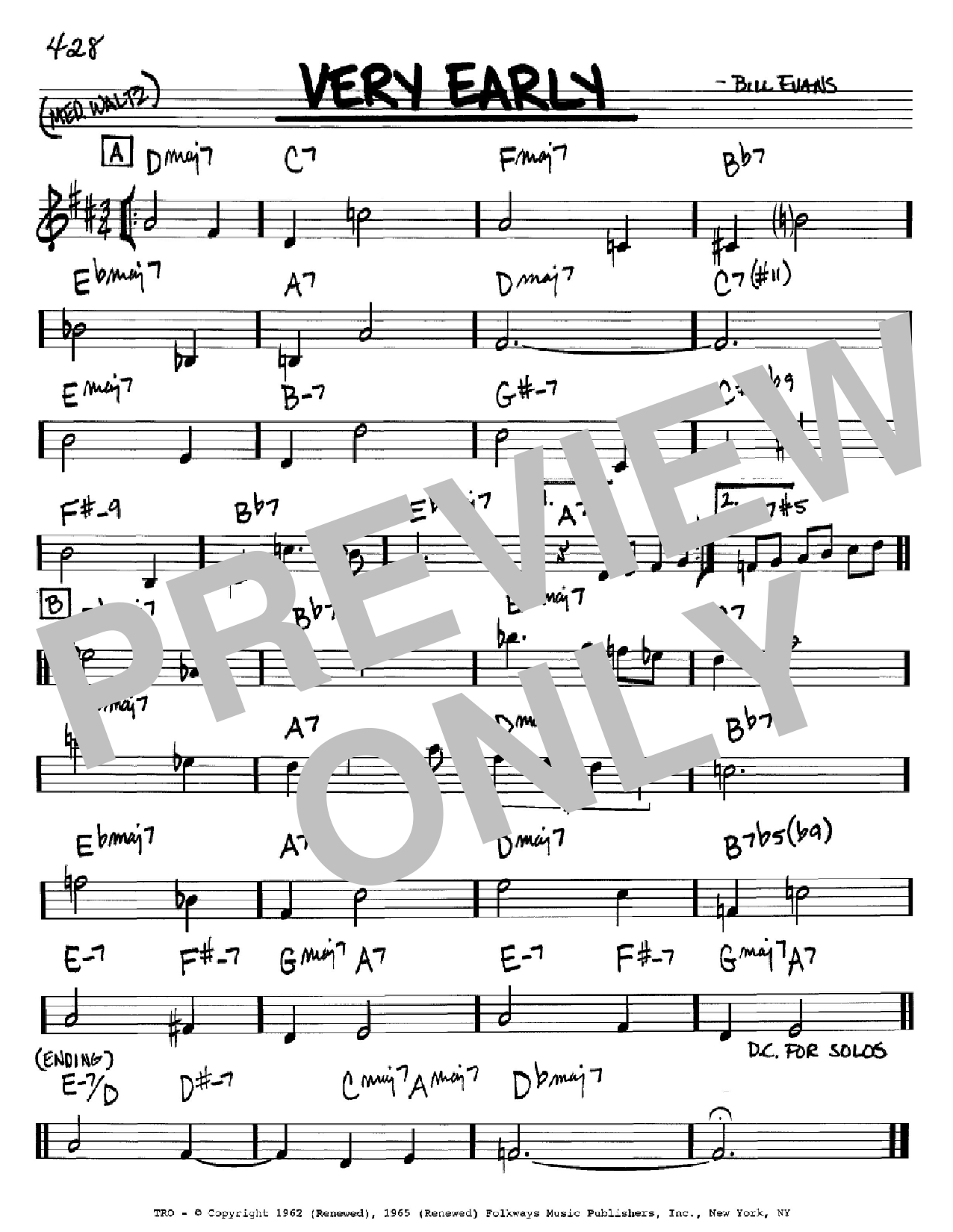 Very Early (Real Book – Melody & Chords – Bb Instruments)