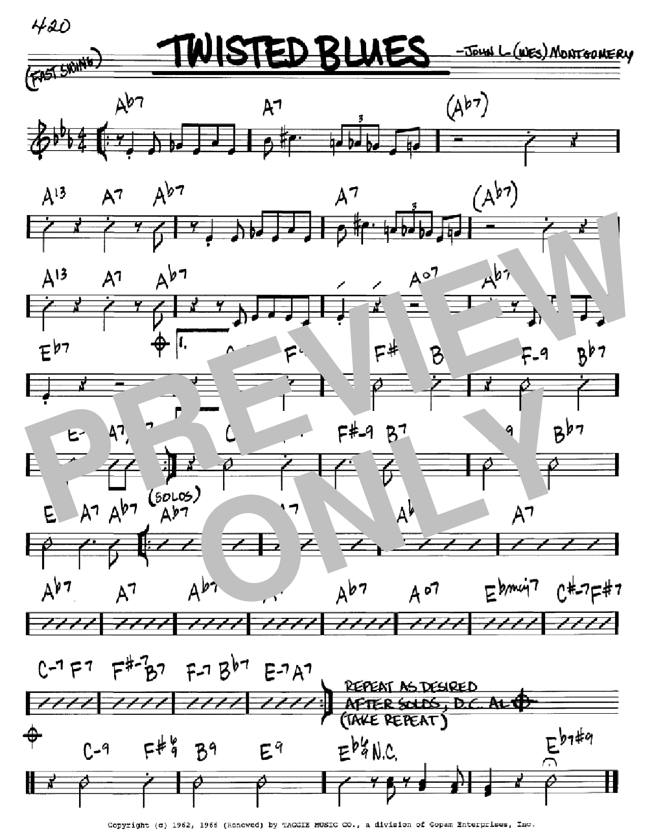 Twisted Blues (Real Book – Melody & Chords – Bb Instruments)