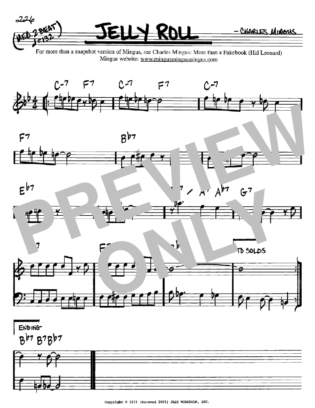 Jelly Roll (Real Book – Melody & Chords – Bb Instruments)