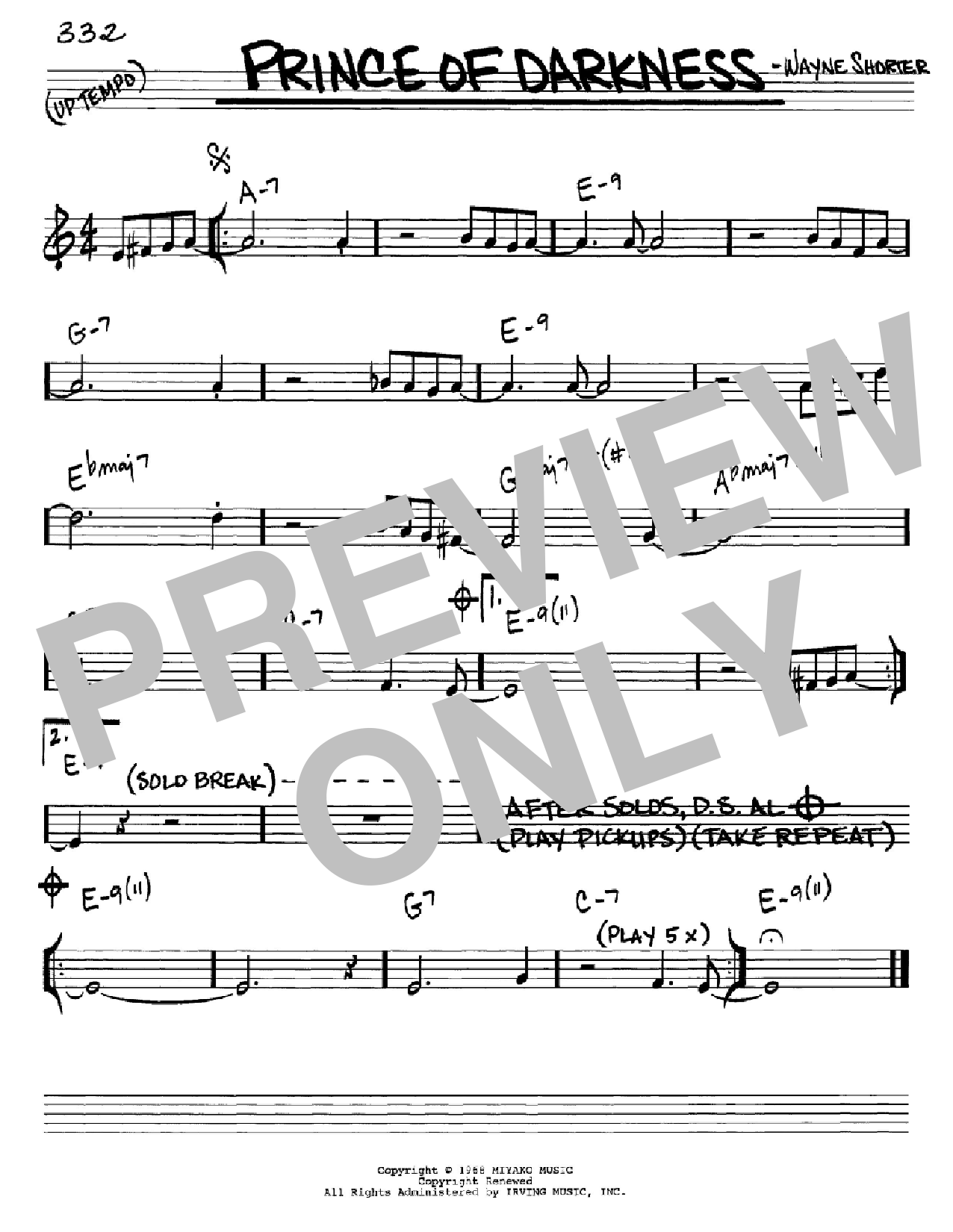 Prince Of Darkness Sheet Music