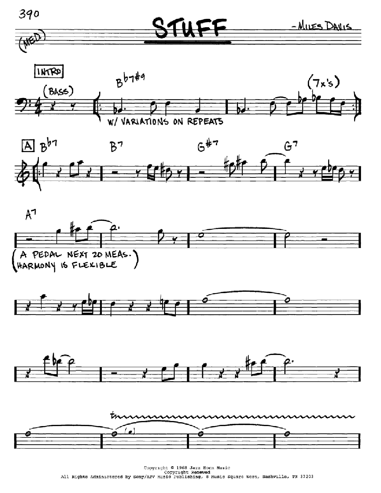 Stuff (Real Book – Melody & Chords – Eb Instruments)