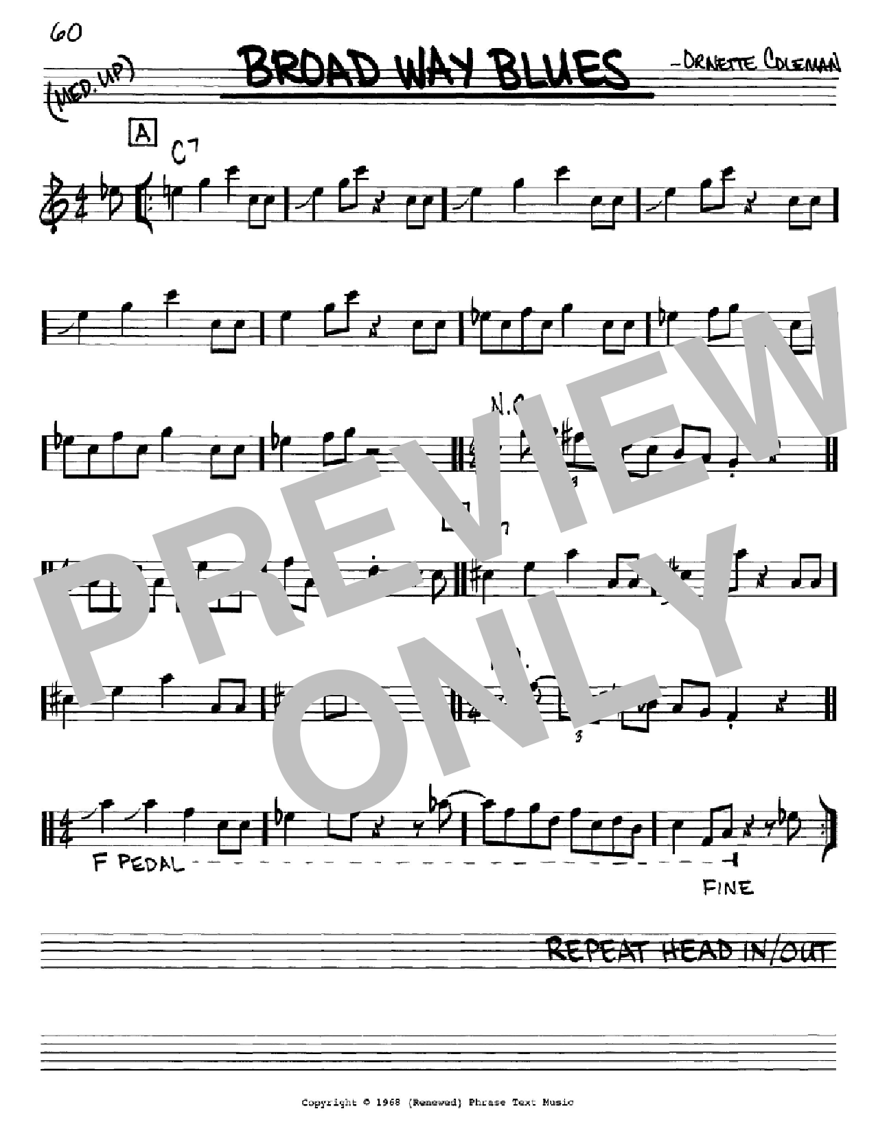 Broad Way Blues Sheet Music