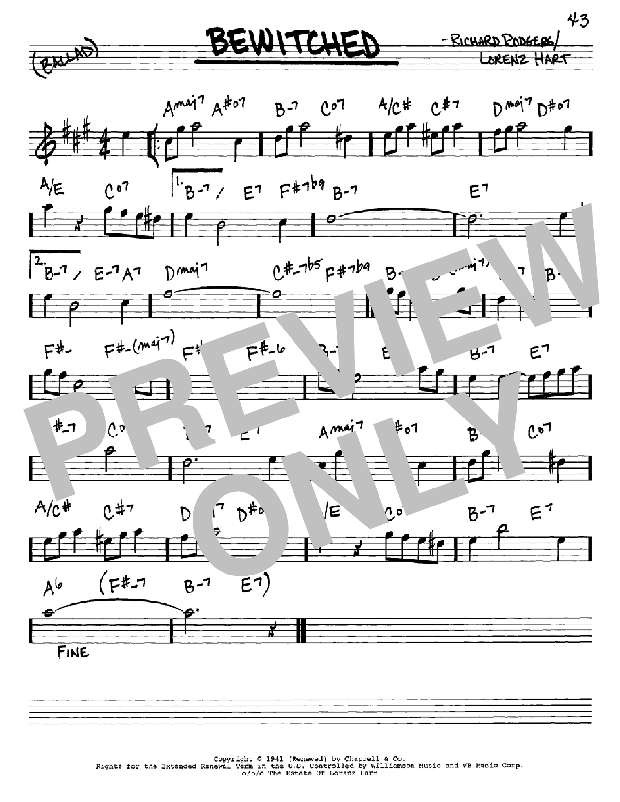 Bewitched (Real Book – Melody & Chords – Eb Instruments)