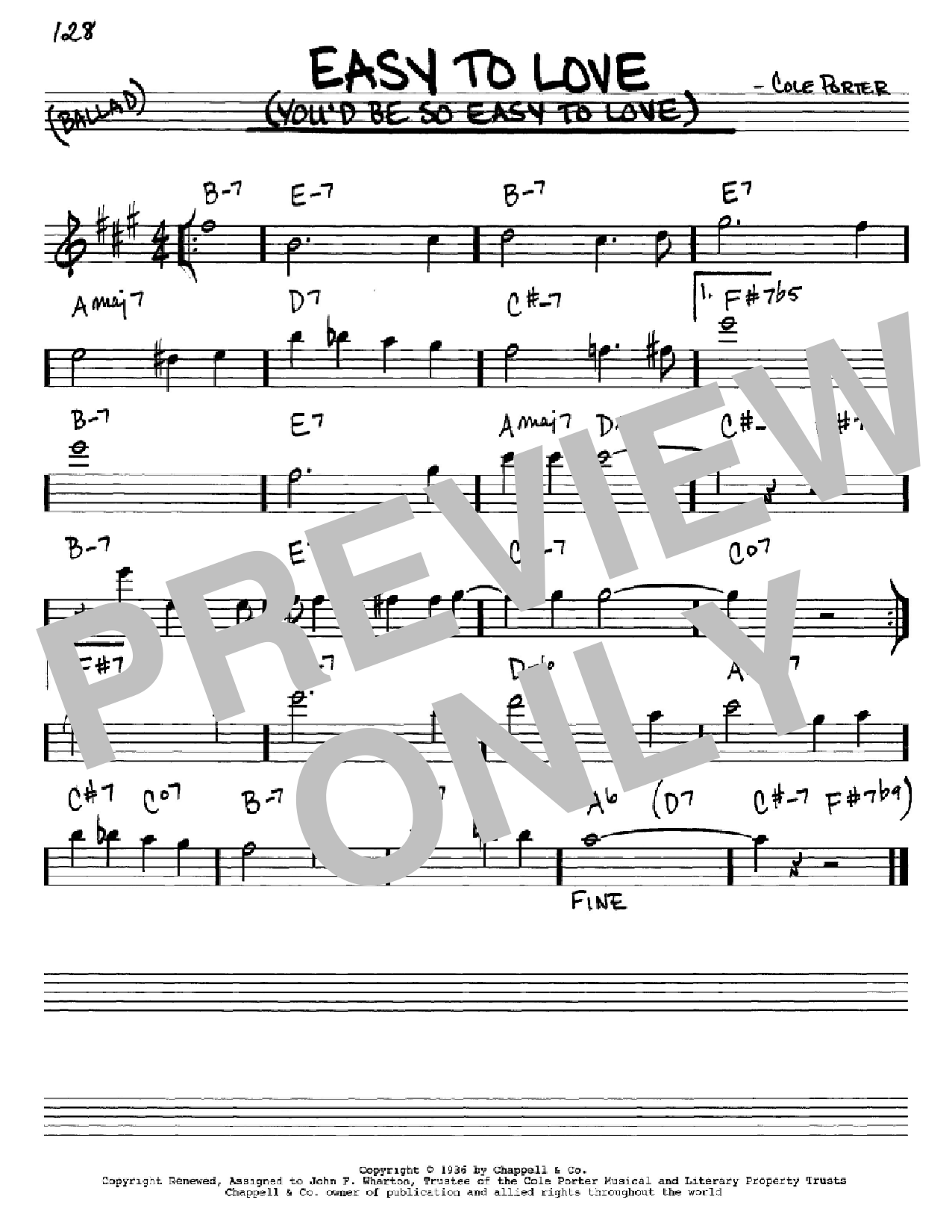 Easy To Love (You'd Be So Easy To Love) Sheet Music