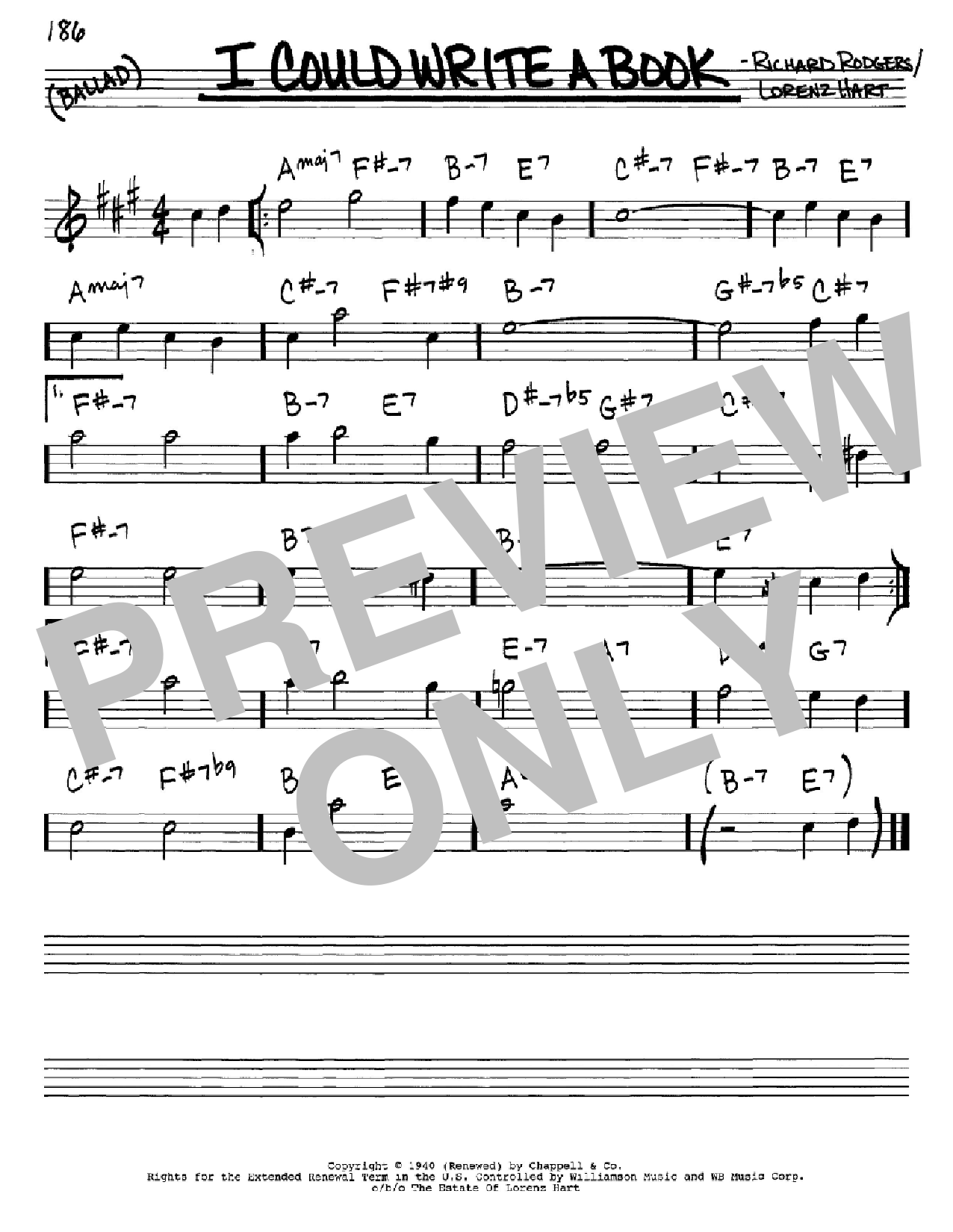 Partition autre I Could Write A Book de Rodgers & Hart - Real Book, Melodie et Accords, Inst. En Mib