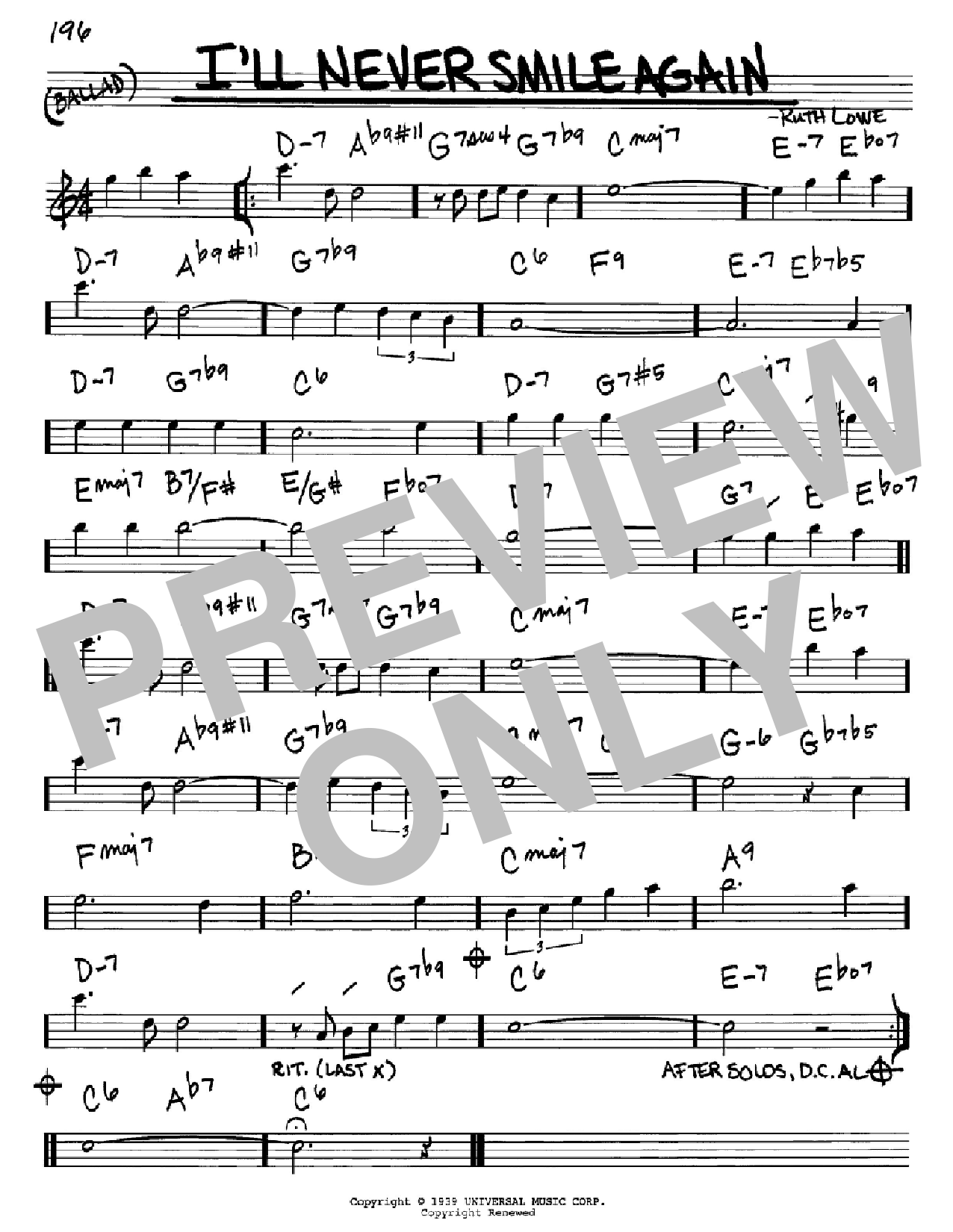 I'll Never Smile Again (Real Book – Melody & Chords – Eb Instruments)