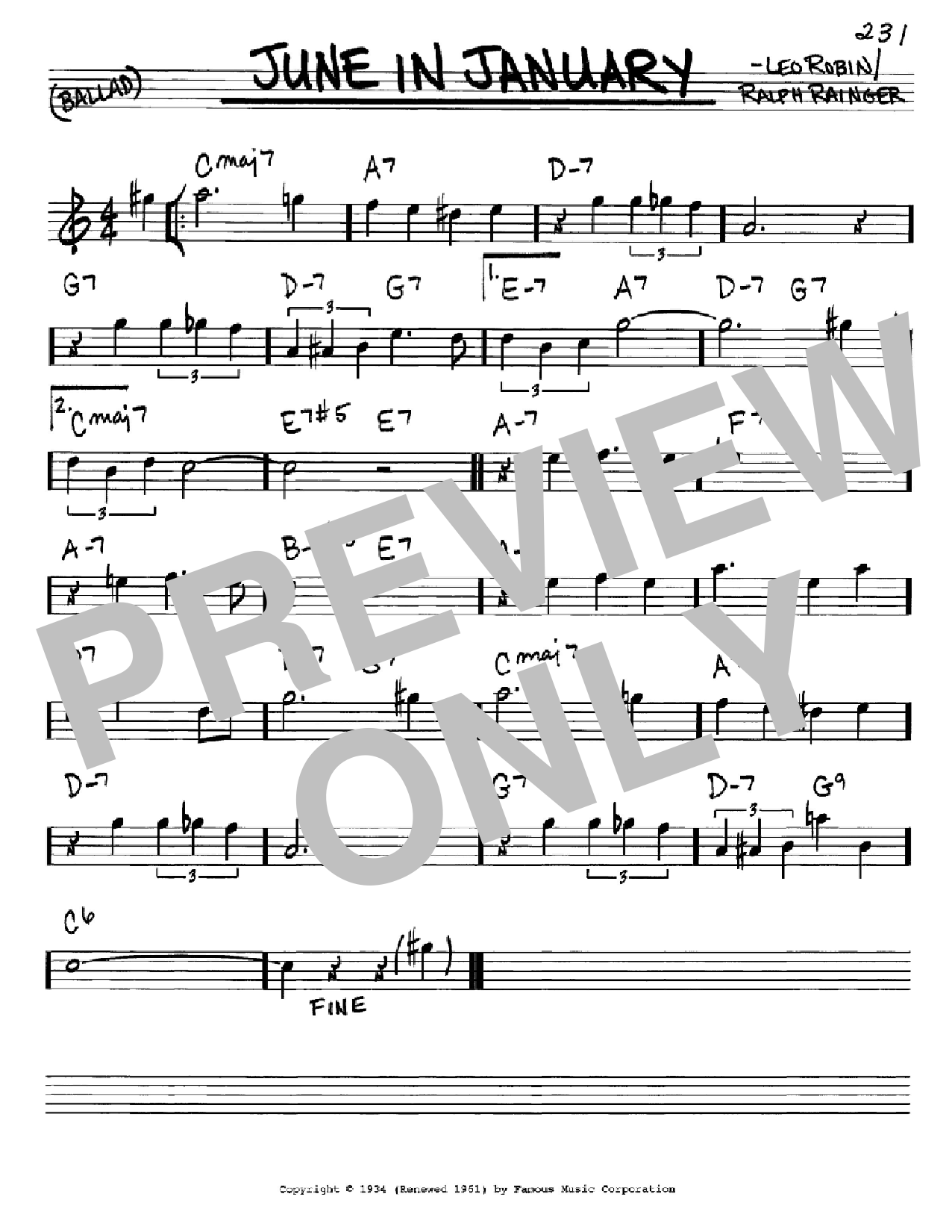 June In January Sheet Music