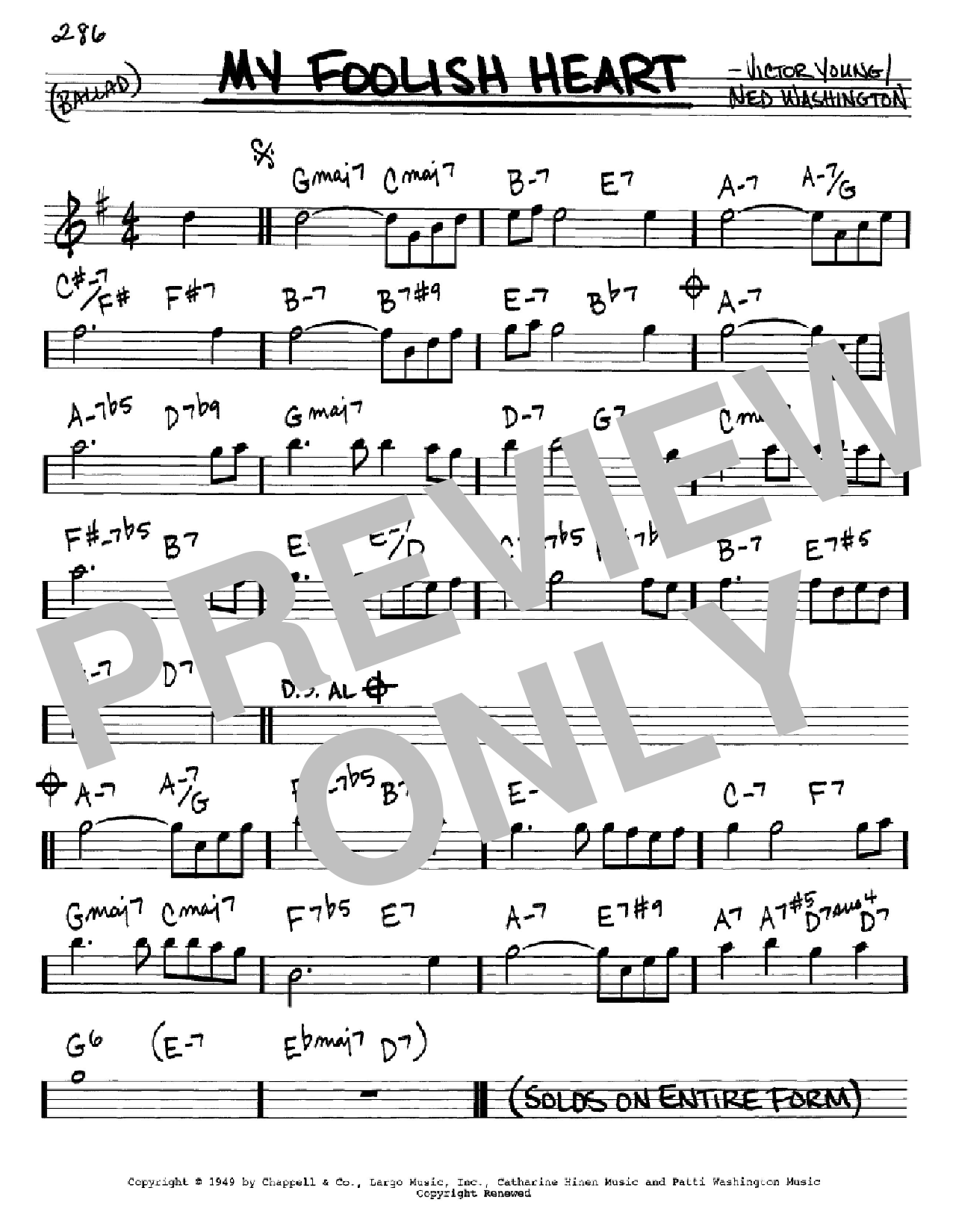 My Foolish Heart (Real Book – Melody & Chords – Eb Instruments)