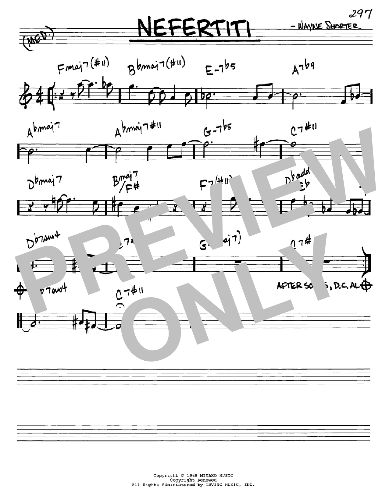 Partition autre Nefertiti de Wayne Shorter - Real Book, Melodie et Accords, Inst. En Mib