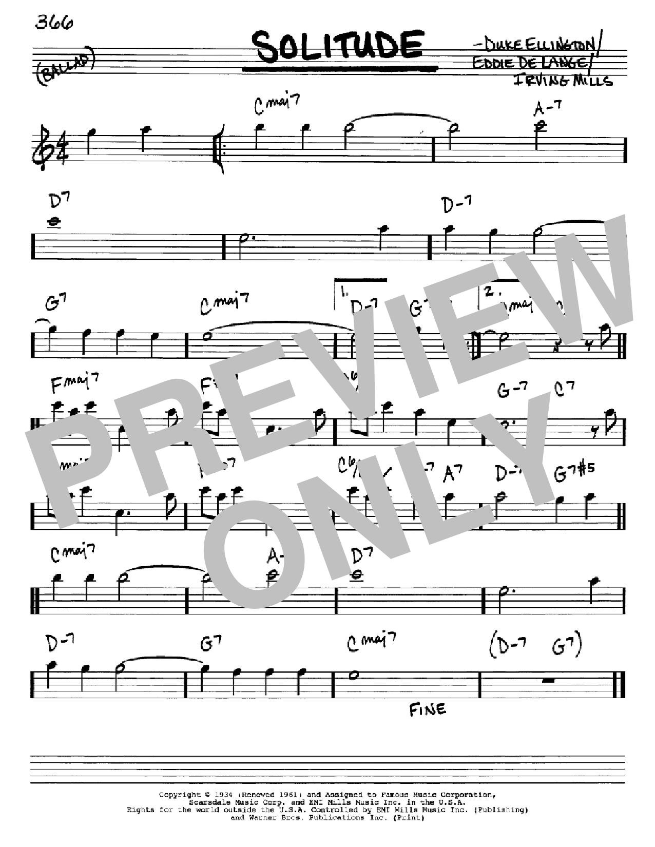 Partition autre Solitude de Duke Ellington - Real Book, Melodie et Accords, Inst. En Mib
