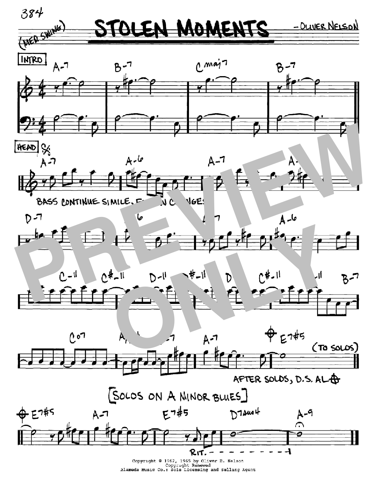 Sheet Music Digital Files To Print - Licensed Oliver Nelson