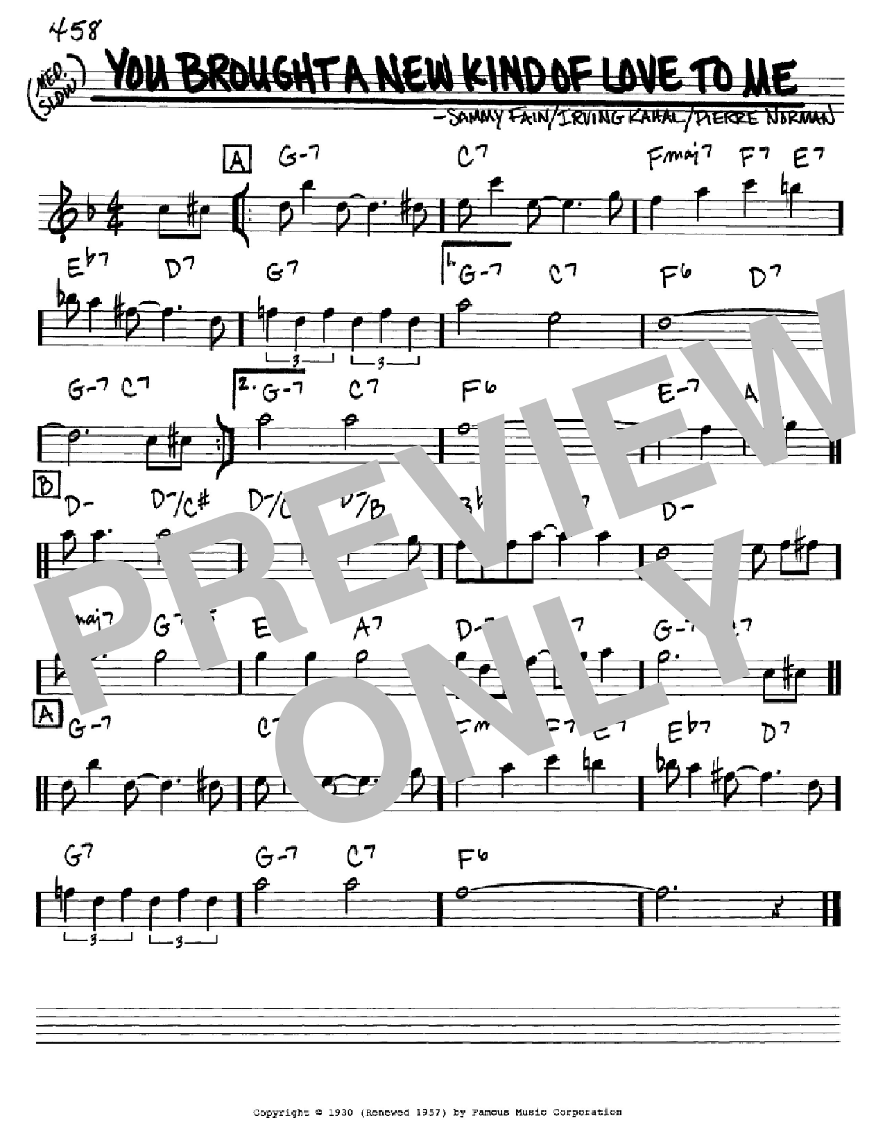 You Brought A New Kind Of Love To Me Sheet Music
