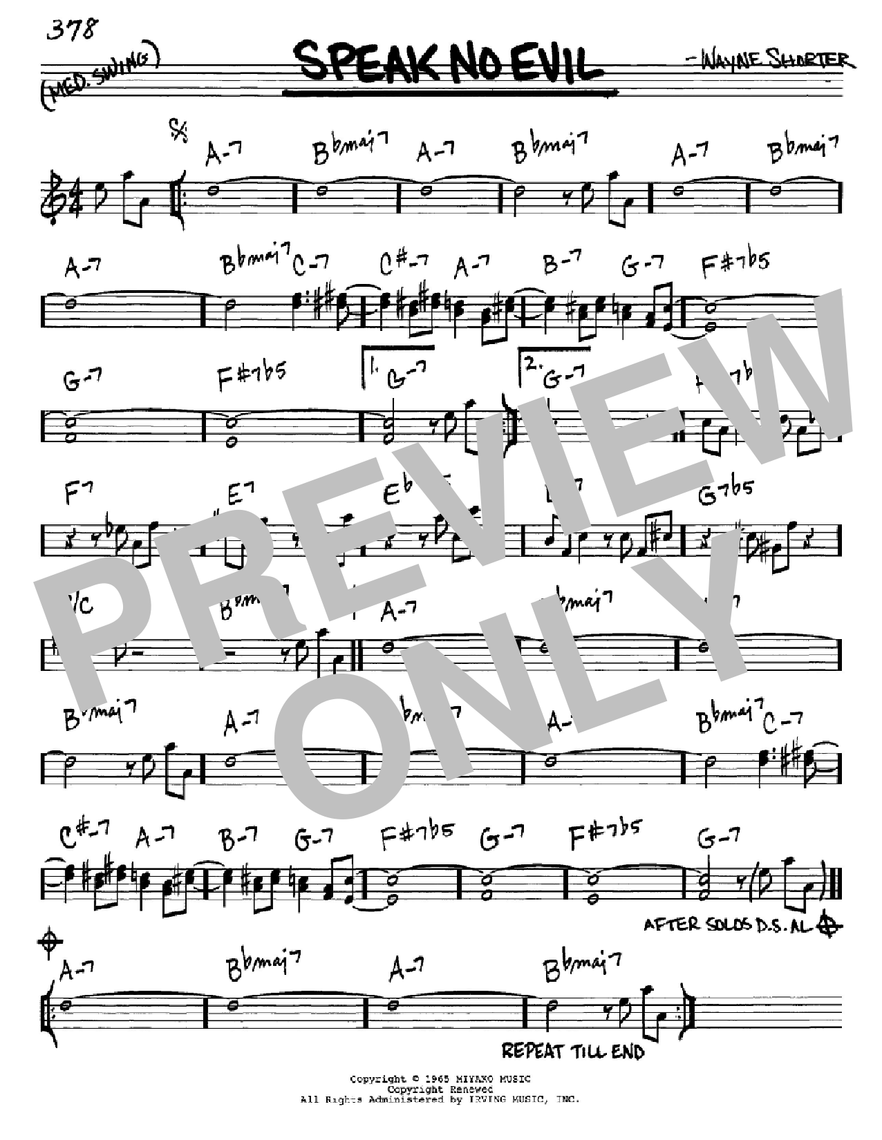 Speak No Evil Sheet Music