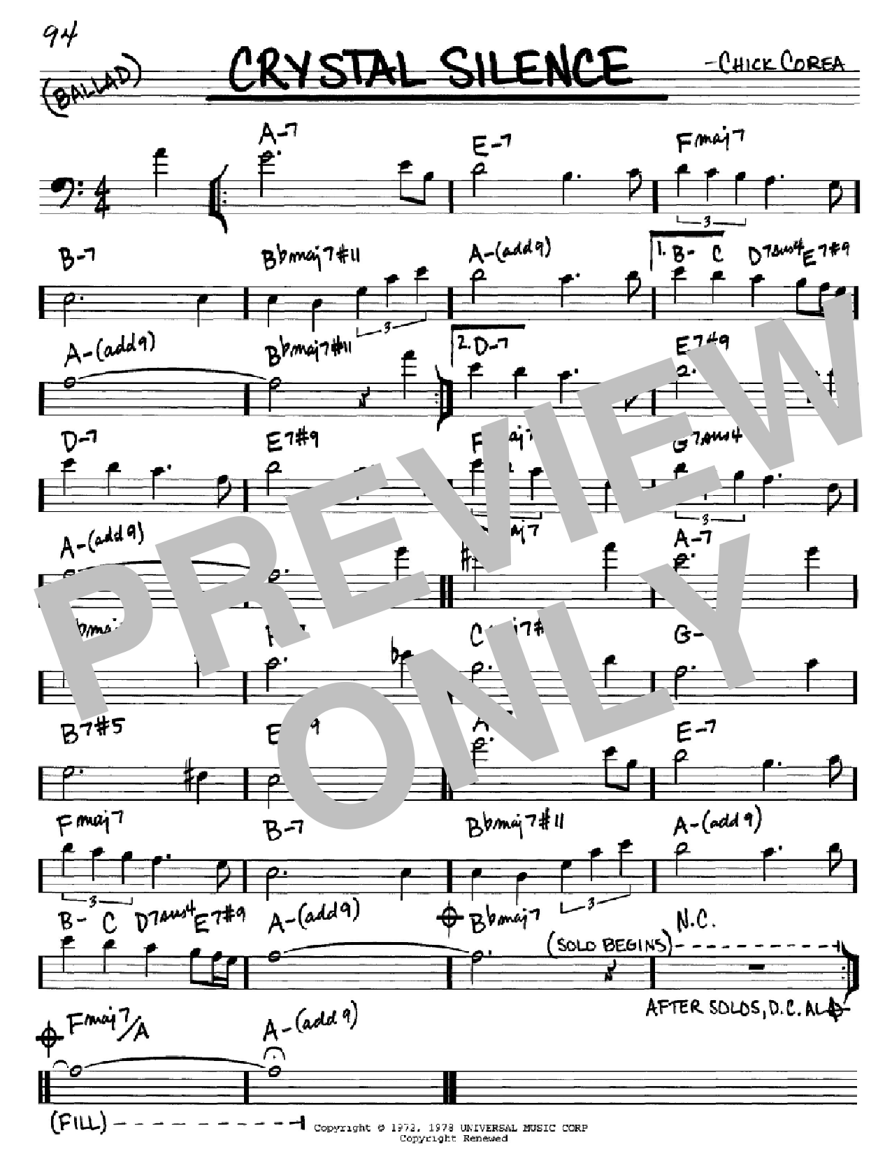 Crystal Silence (Real Book – Melody & Chords – Bass Clef Instruments)