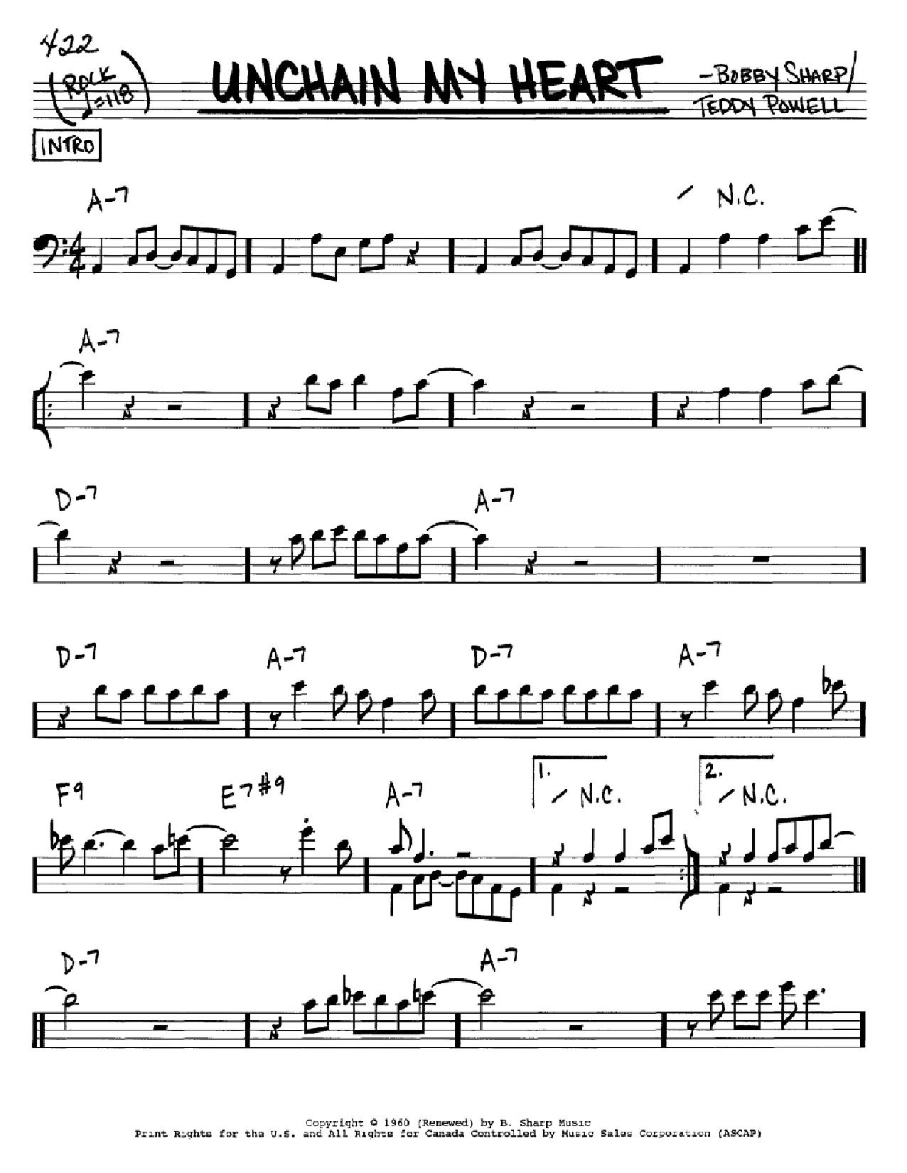 Partition autre Unchain My Heart de Ray Charles - Real Book, Melodie et Accords, Inst. En cle de Fa