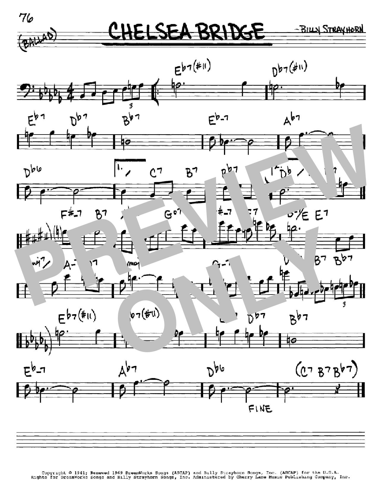 Partition autre Chelsea Bridge de Billy Strayhorn - Real Book, Melodie et Accords, Inst. En cle de Fa