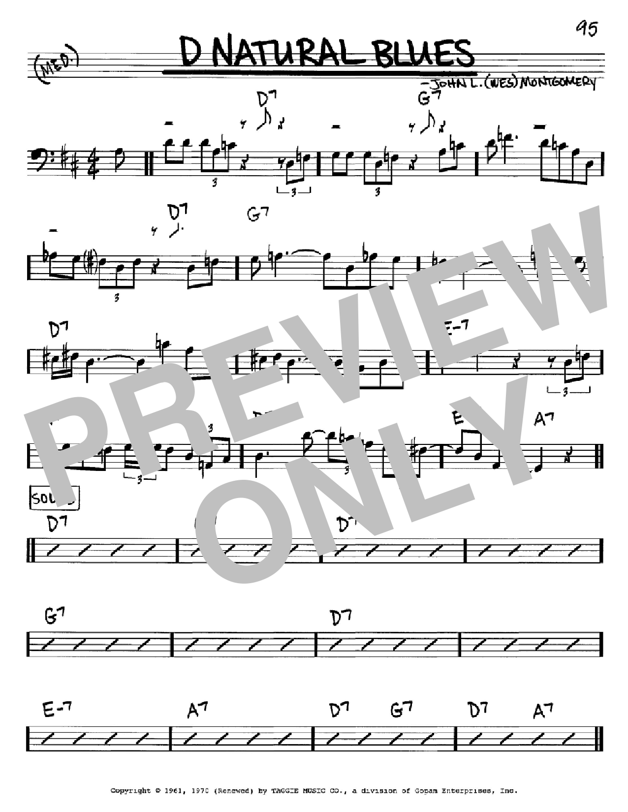 D Natural Blues Sheet Music