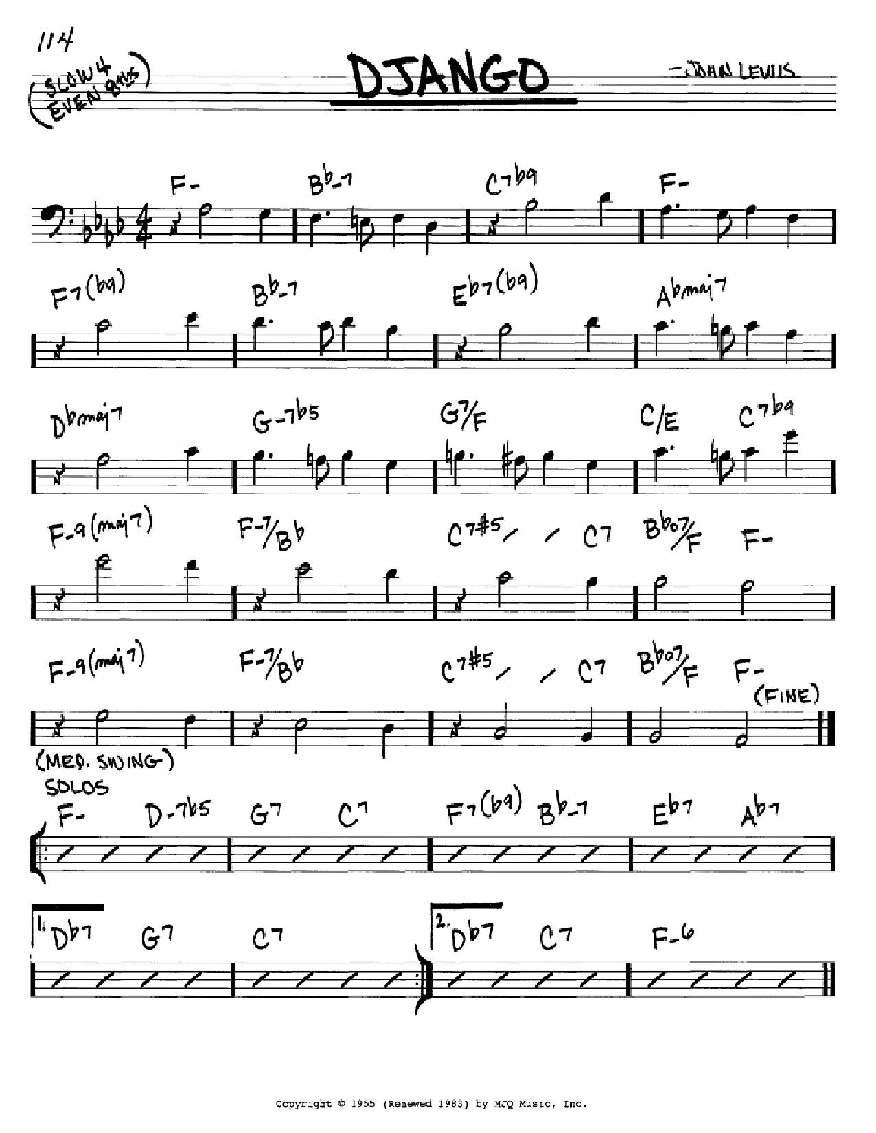 Django (Real Book – Melody & Chords – Bass Clef Instruments)