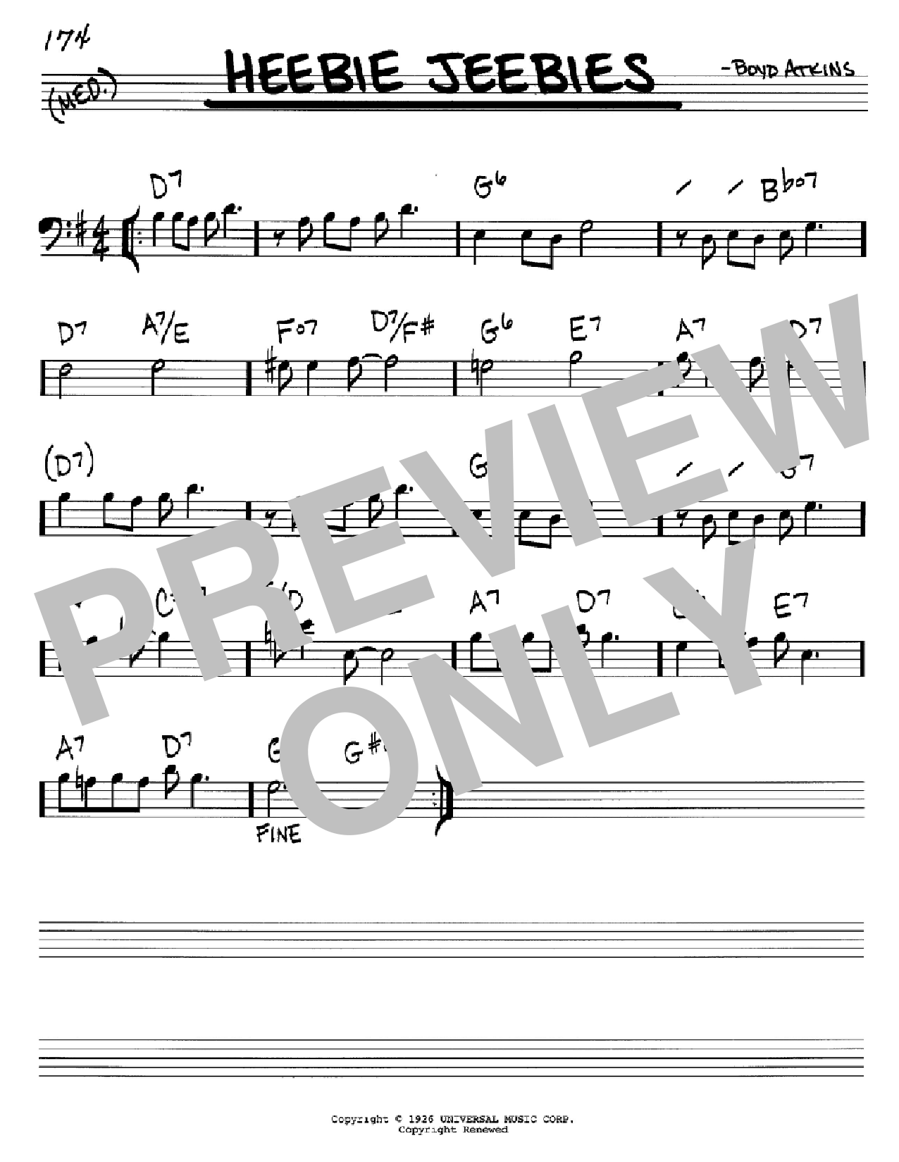 Heebie Jeebies (Real Book – Melody & Chords – Bass Clef Instruments)