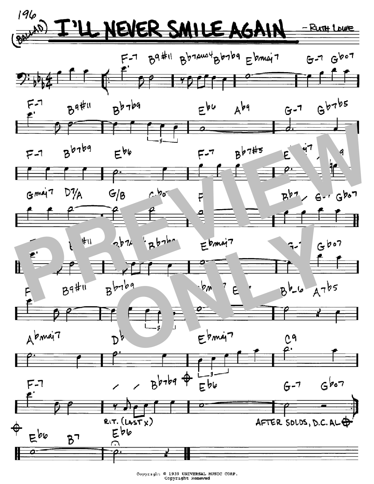 I'll Never Smile Again (Real Book – Melody & Chords – Bass Clef Instruments)