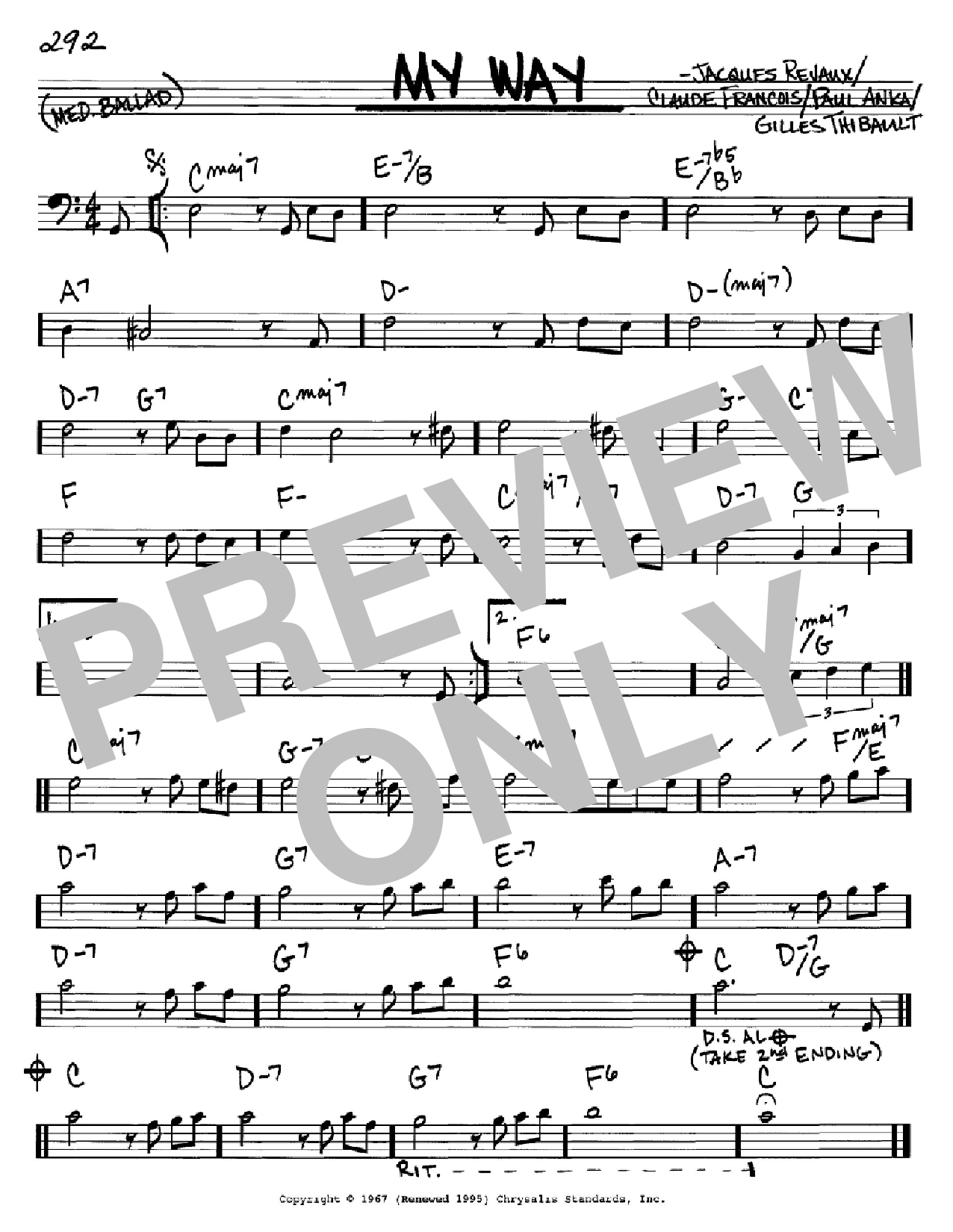My Way (Real Book – Melody & Chords – Bass Clef Instruments)