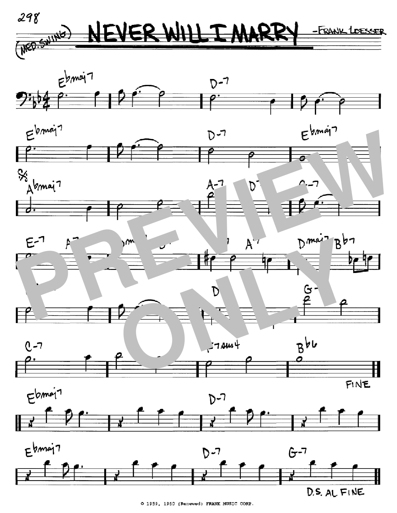 Never Will I Marry (Real Book – Melody & Chords – Bass Clef Instruments)