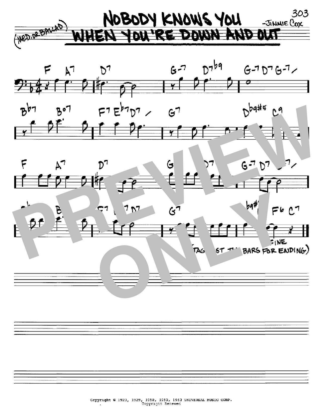 Nobody Knows You When You're Down And Out (Real Book – Melody & Chords – Bass Clef Instruments)