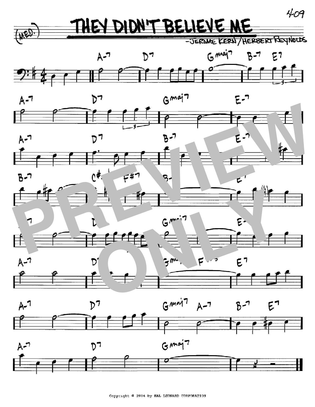 They Didn't Believe Me Sheet Music