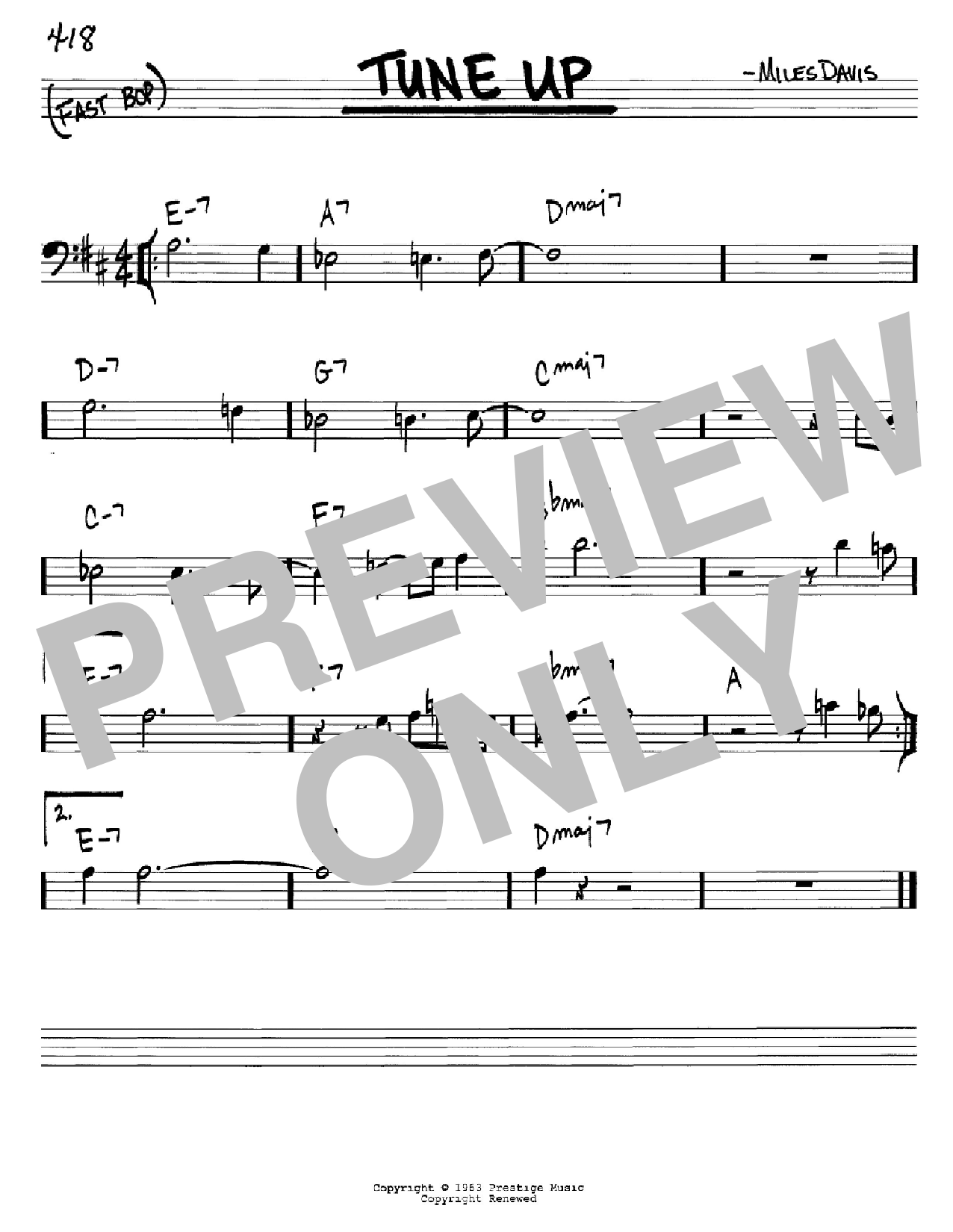 Tune Up (Real Book – Melody & Chords – Bass Clef Instruments)