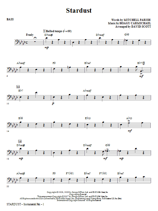 Stardust - Bass Sheet Music