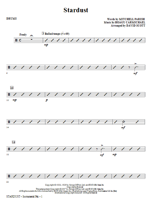 Stardust - Drums Sheet Music