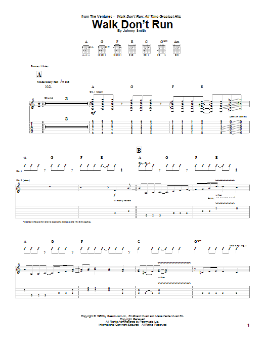 Walk Don\'t Run | The Ventures | Guitar Tab