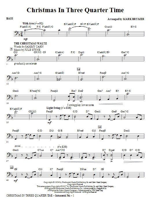 Christmas In Three Quarter Time (Medley) - Bass Sheet Music