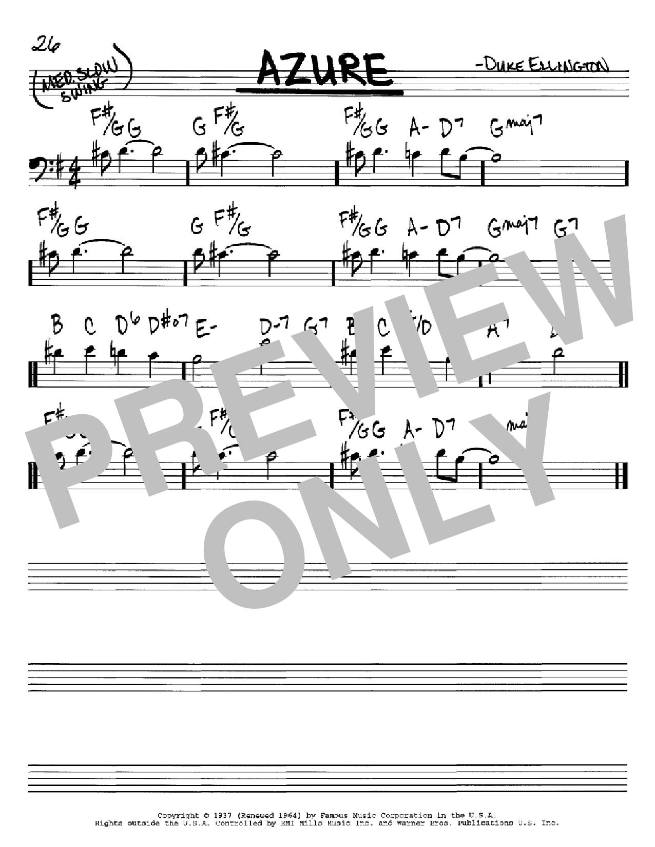 Partition autre Azure de Duke Ellington - Real Book, Melodie et Accords, Inst. En cle de Fa