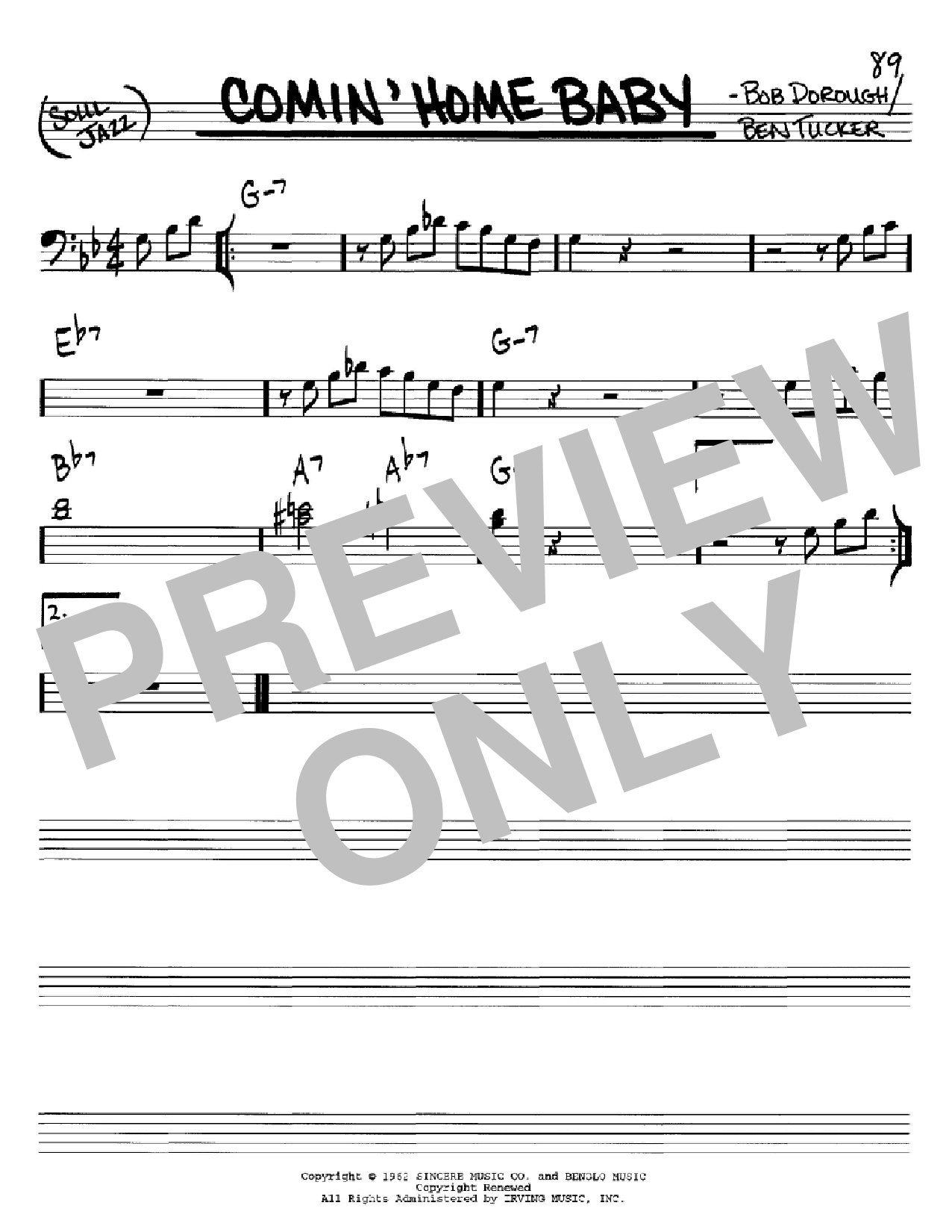 Comin' Home Baby Sheet Music
