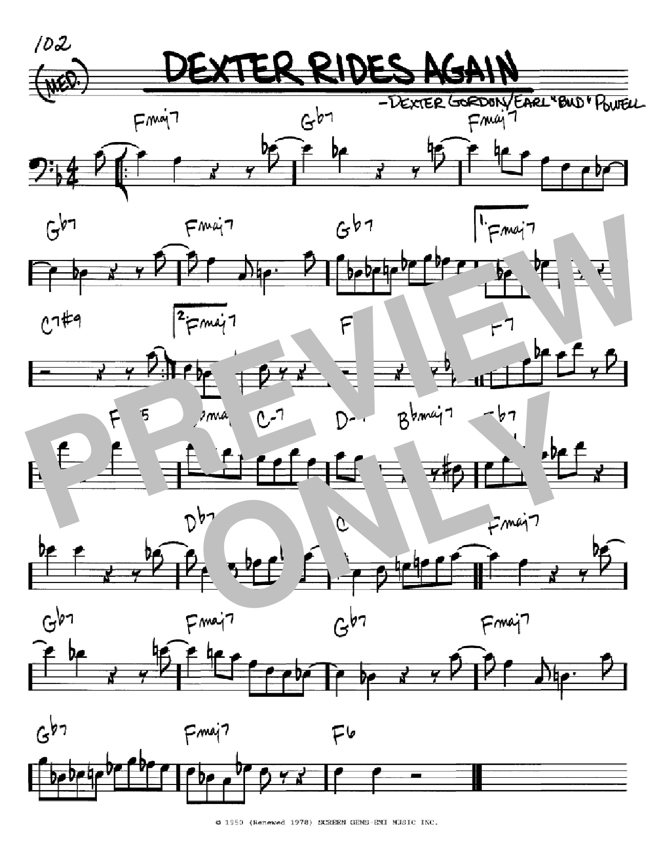 Dexter Rides Again (Real Book – Melody & Chords – Bass Clef Instruments)