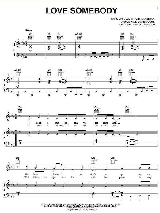 Love Somebody (Piano, Vocal & Guitar (Right-Hand Melody))