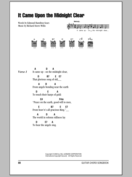 It Came Upon The Midnight Clear (Guitar Chords/Lyrics)